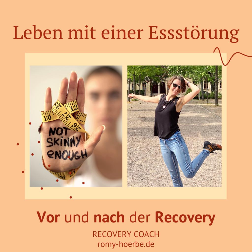 Leben mit Essstörung vor und nach Recovery